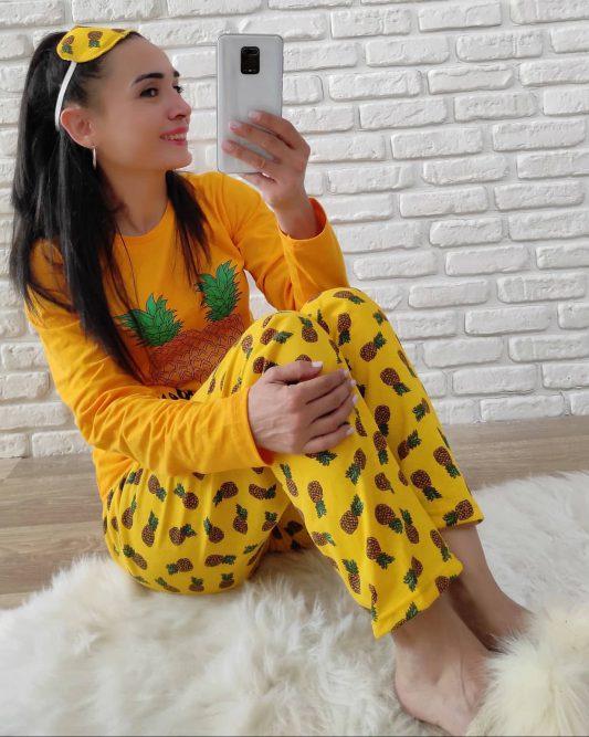 Ananas Baskı Pijama Takımı (Hardal)