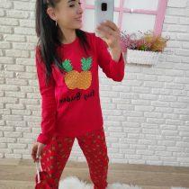 Ananas Baskı Pijama Takımı (Kırmızı)