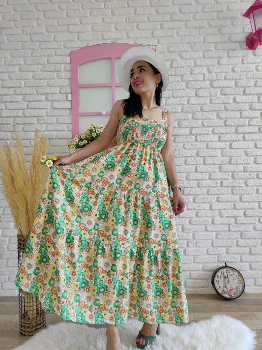 Askılı Çiçek Elbise (yeşil)