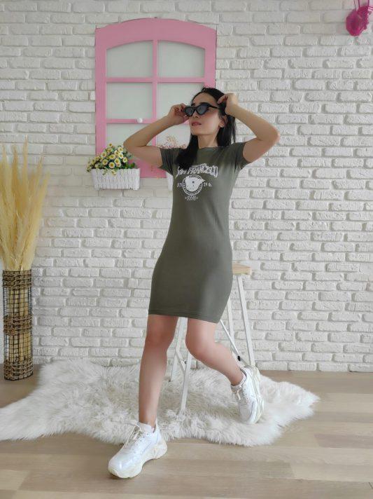 Francisso Baskı Elbise (haki)