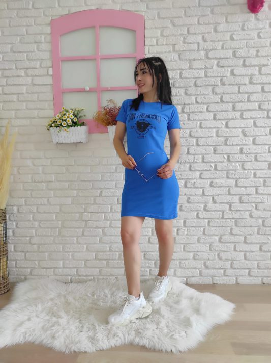 Francisso Baskı Elbise (mavi)
