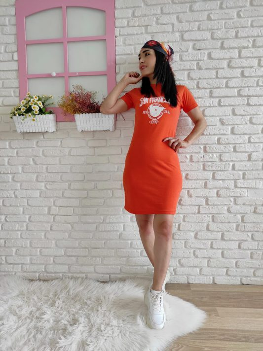 Francisso Baskı Elbise (turuncu)