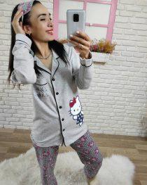Hello Kitty Baskı Pijama Takımı (Gri) , Pijama Takımı , Pijama Takımları