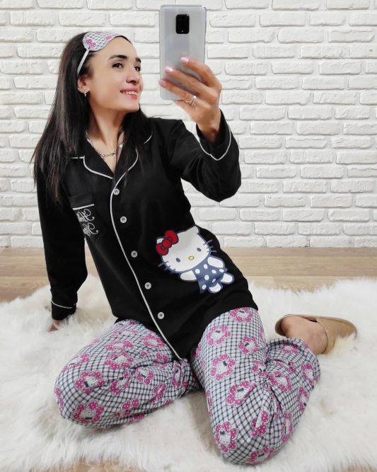 Hello Kitty Baskı Pijama Takımı (Siyah)