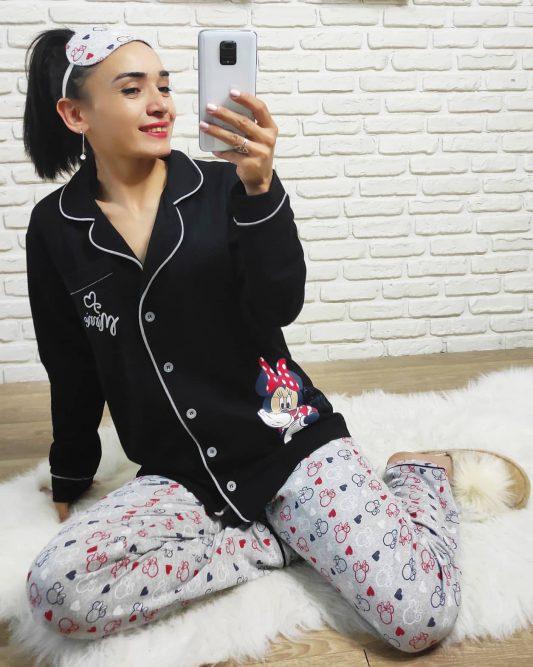 Mickey Mouse Baskı Pijama Takımı (Siyah)