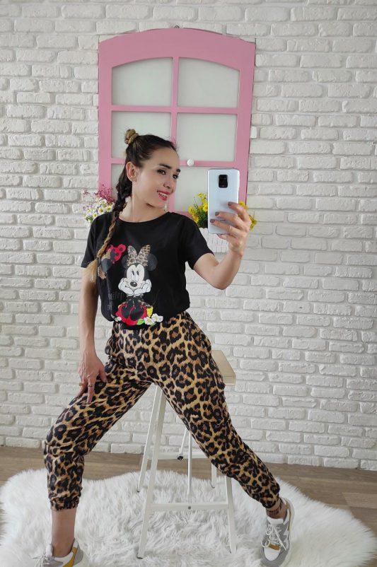 Mickey Mouse Baskılı Eşofman Takımı (leopar)