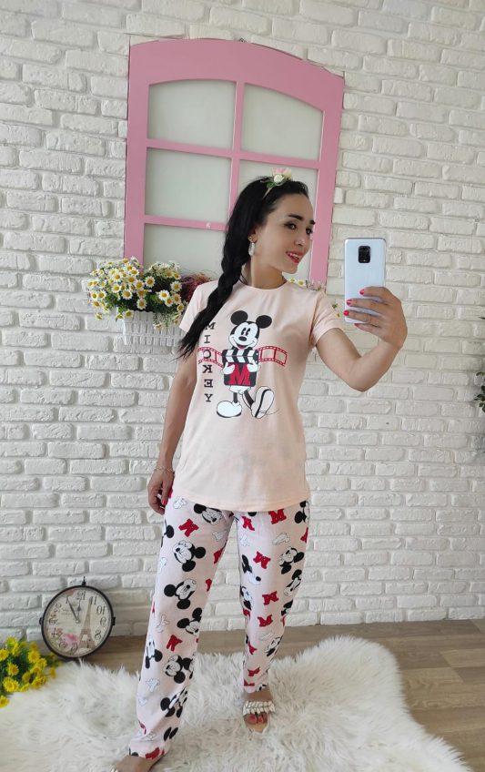 Mickey Mouse Baskılı Pijama Takımı (pudra)