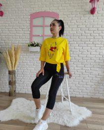 Panda Baskı tişört (sarı)