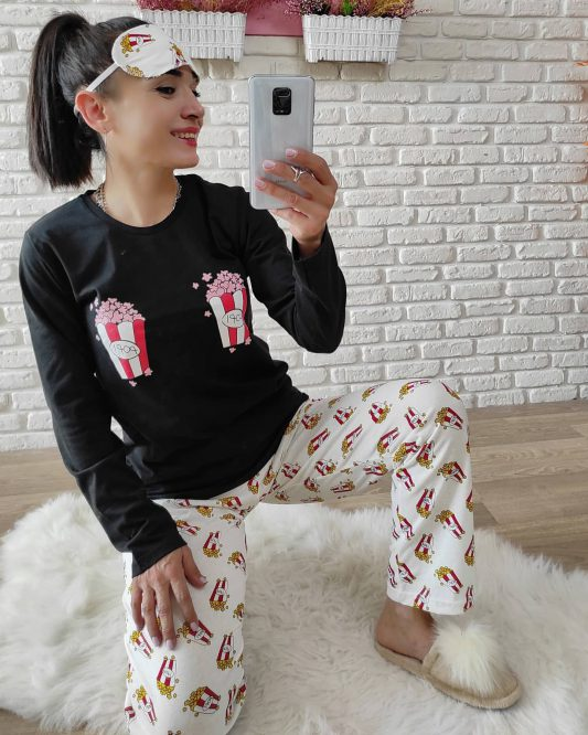 Pop Corn Pijama Takımı (Siyah)