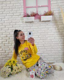 Renkli baskılı pijama takımı (sarı )