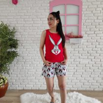 Tavşan askılı pijama takımı (kırmızı)