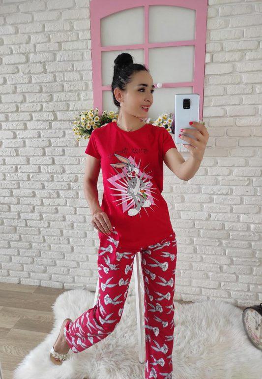 Tavşan baskılı pijama takımı (kırmızı)