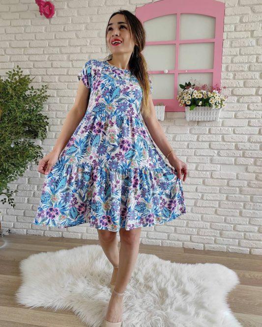 Viskon Arkası Bağlamalı Elbise (Mavi)