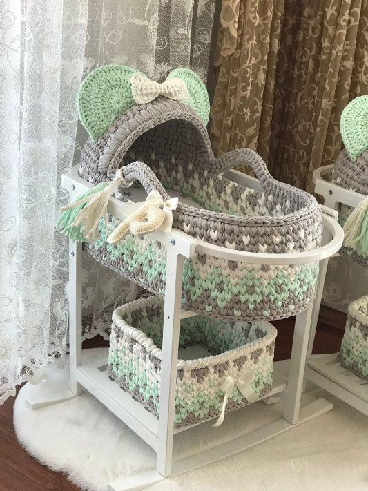 Örgü Su Yeşili Puset - Bebek Ürünleri